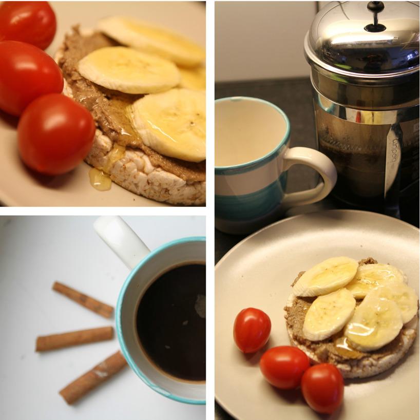 Sedan blev det ju självklart lite mellanmål till detta i min ensamhet, då frugan var på jobb! Kaffe med kanel och riskaka med tahini, honung och banan! Smaskens!