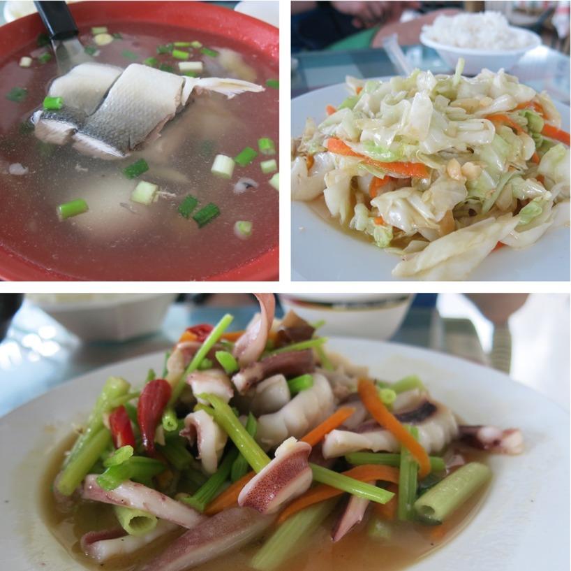 Yumyum! Ingefära och fisksoppa, wookad vitkål och vitlök och bläckfisk med fänkål och chili.