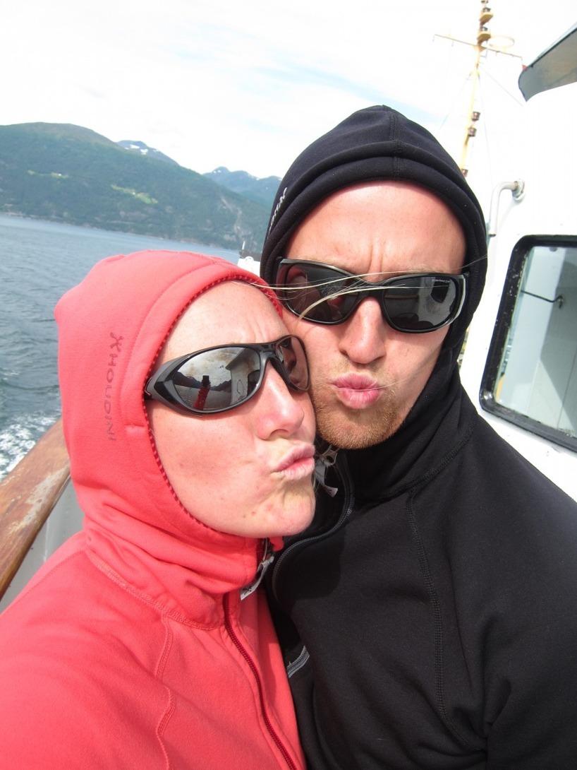 Vi på turistbåten mellan Valldal och Geiranger... en flott tur men dyrt!