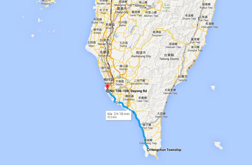Dagend etapp! Från Hengchun till Kaohsiung där vi sover inatt!