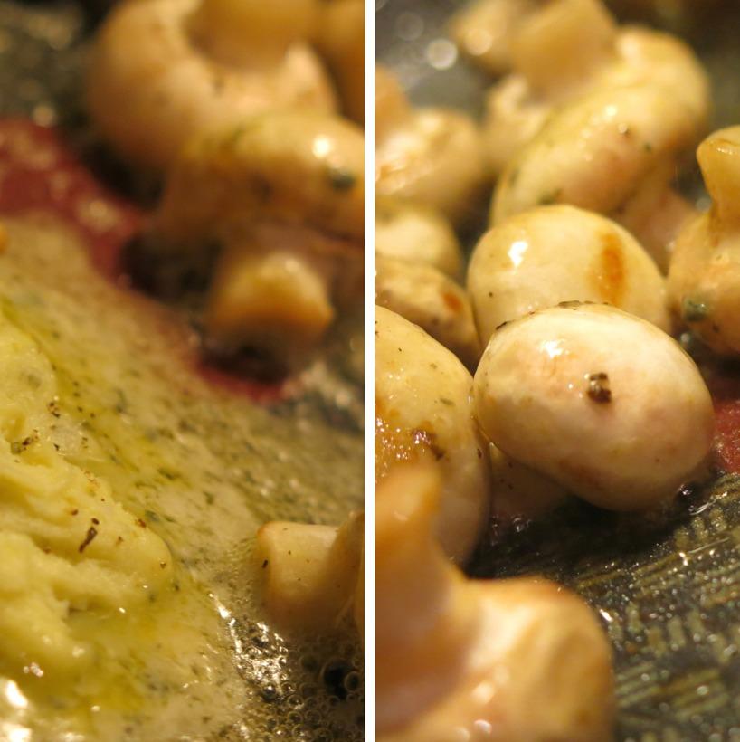 Svampen fräses i ädelostsmöret.