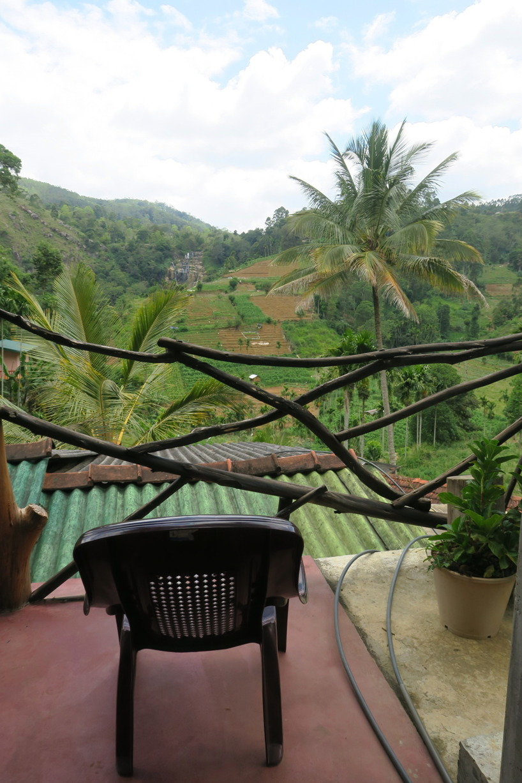 Utsikt från verandan över vattenfallet och odlingarna.