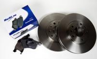 Bromsskivor 280 mm + Bromsbeläggsats fram OPEL Astra G+H, Combo, Corsa C, Meriva A+B, Zafira B