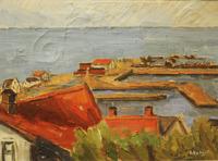 Målning av L. Nykvist 1980, Mölle hamn och inlopp.