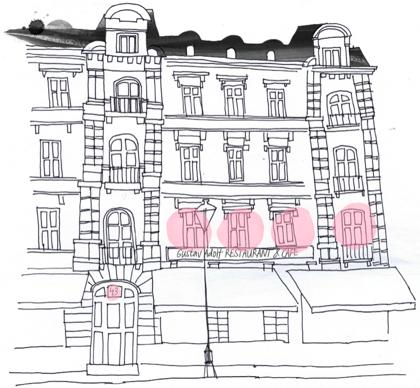 Fasaden illusterad av Annefrid Sjöman.