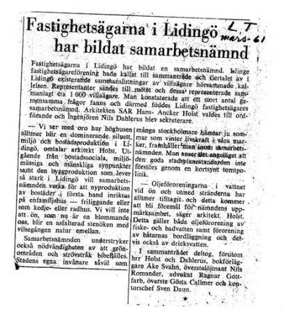 Klipp från Lidingö Tidning 1961