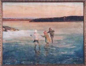 Barn åker skridskor på Käppalaviken, 1926.