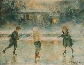 Barn åker skridskor utanför Kragenäs, 1926.