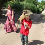 walking with our monkey friend