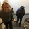Orion og Vittinghoff på vei opp til atelierene der vi studerte