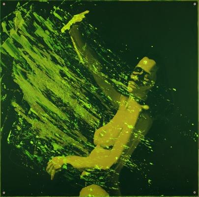 """""""Flom"""" olja på duk och akrylglas, 1mx1m Ingrid Forfang"""