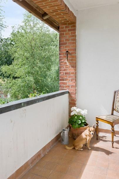 Balkong utanför vårt sovrum. OBS hunden är inte till salu!
