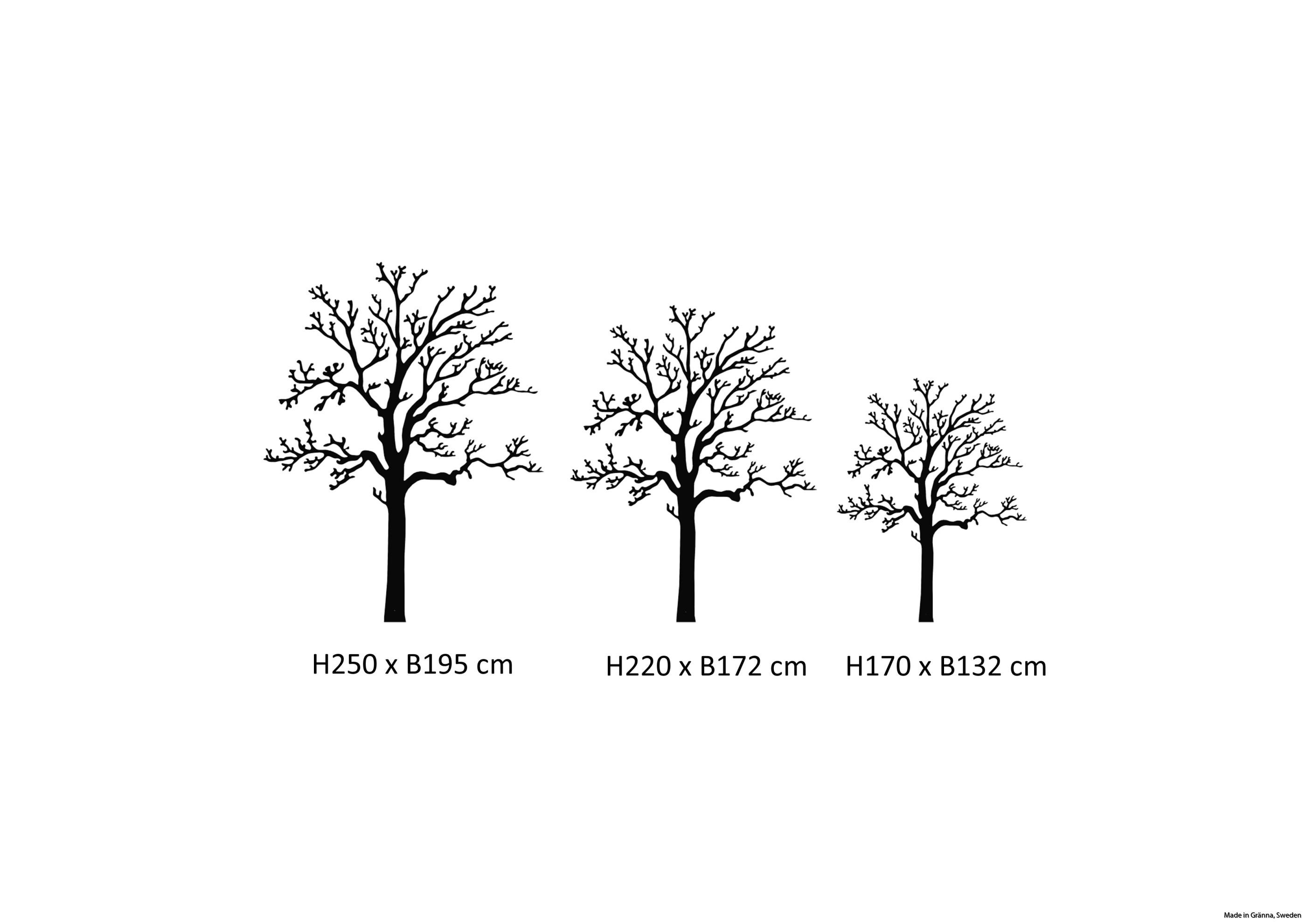 Väggträd i de tre största storlekarna