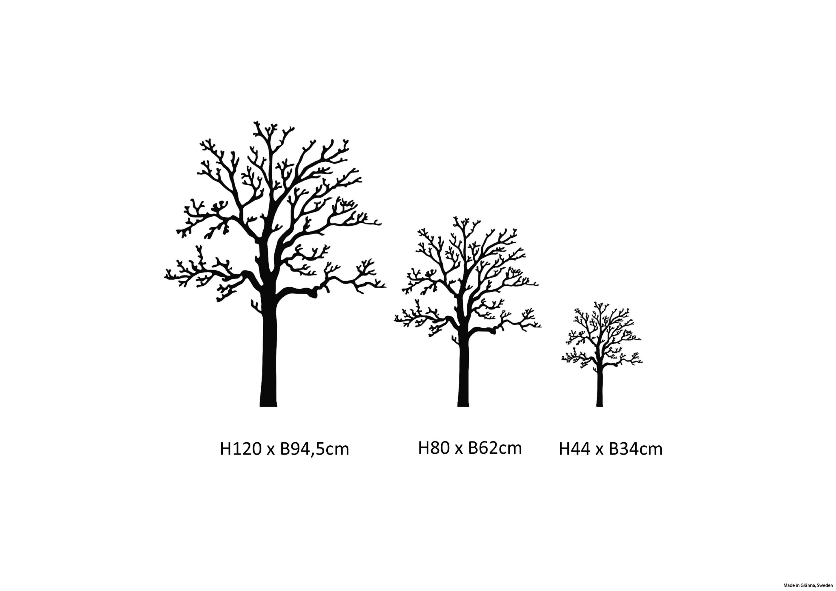 Väggträd i de tre minsta storlekarna