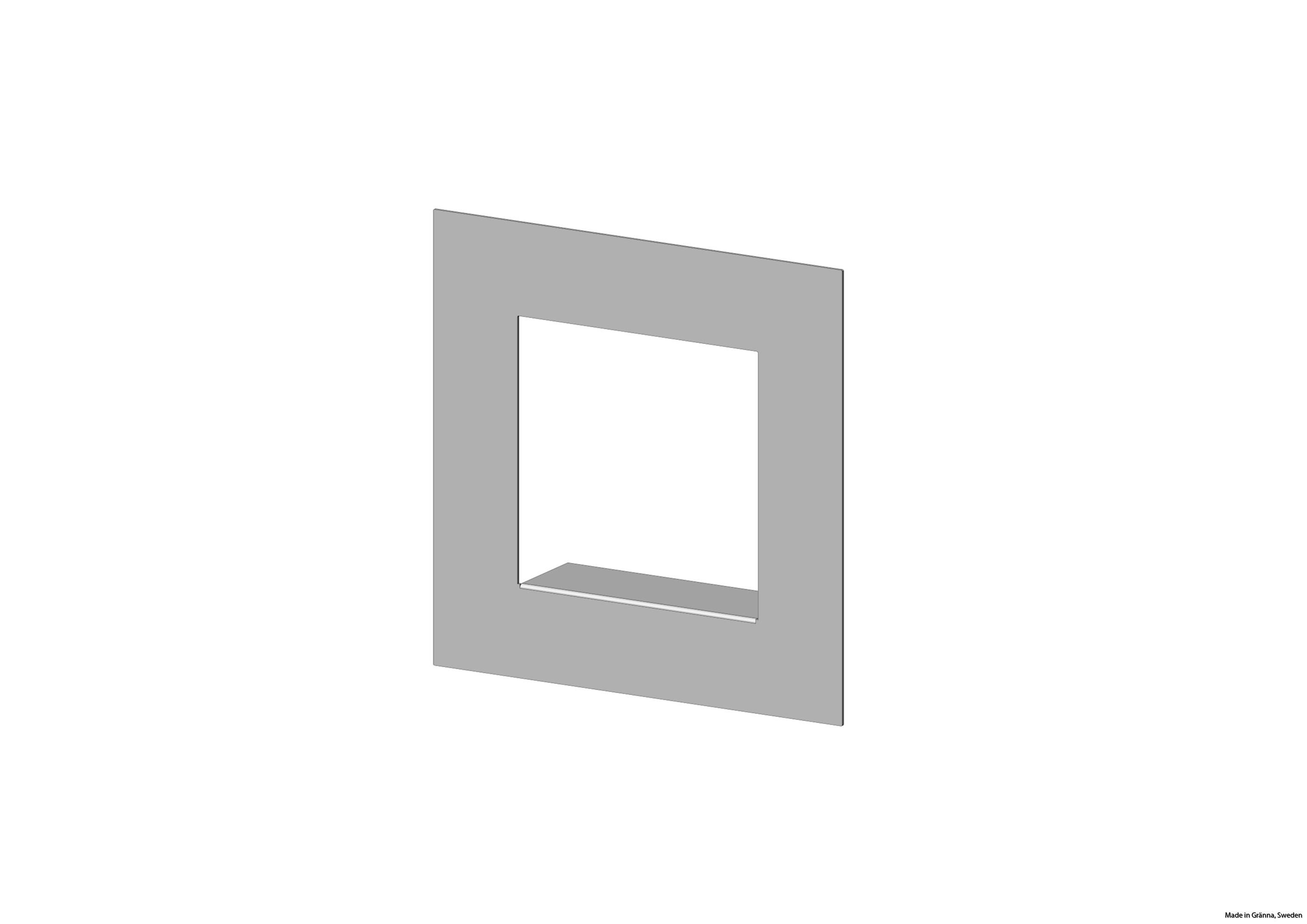 Centrerad ramhylla, silvergrå sett från sidan