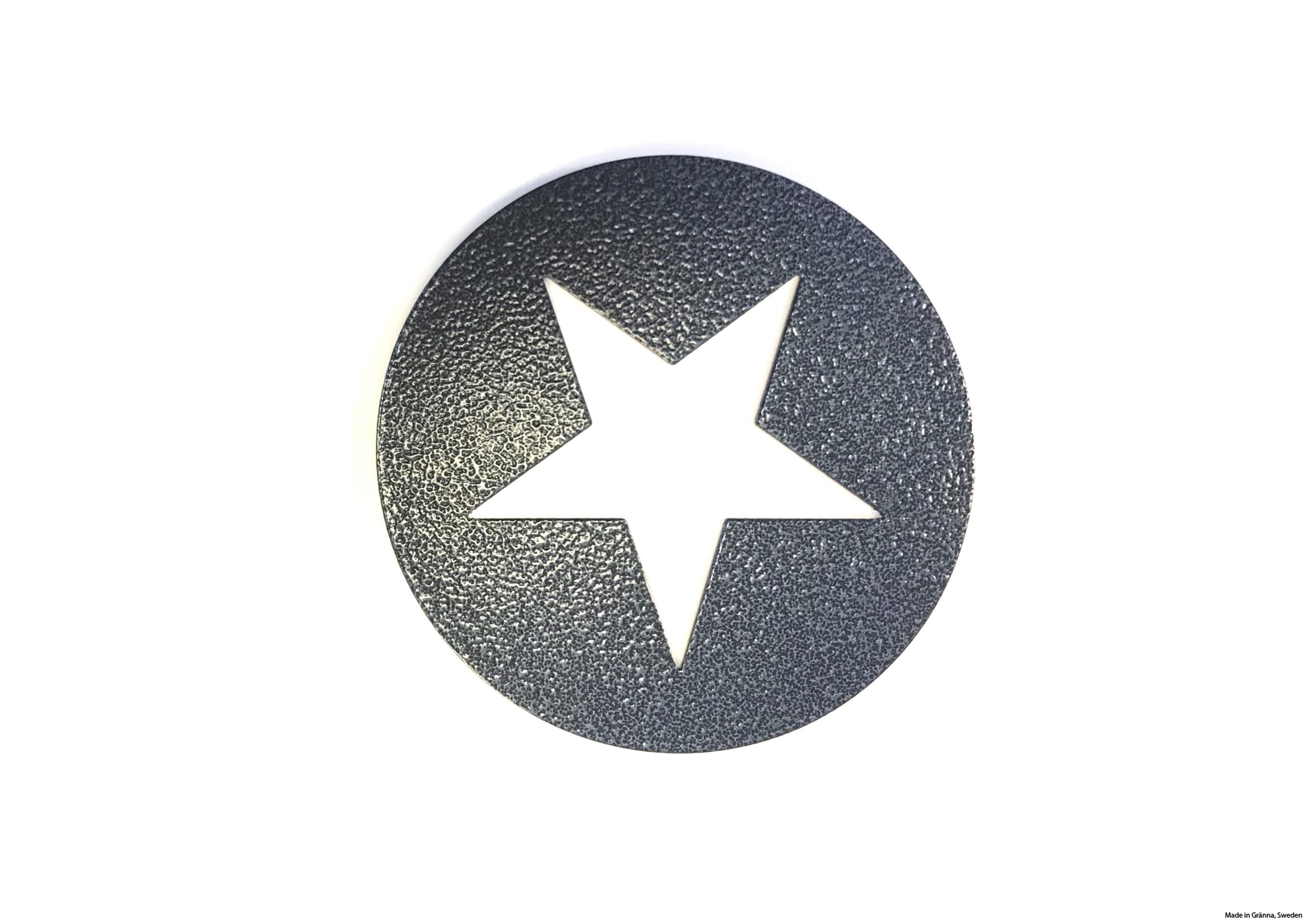 Runt underlägg med vit stjärna