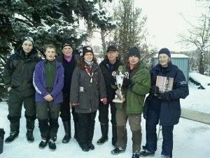 Från vänster: Ted Åbom, Täby PF (ÄHJ), David Öhman, Täby PF (YHJ), Stefan Dellert, Norrtälje SFK (HV), Carina Widerberg, Täby PF (D), Torsten Lund, Stäkets SF (ÄHV), Erik Tikkanen, Enskede SFK (H) och