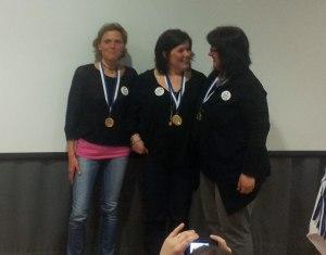 Det svenska damlaget som kammade hem guldet!Fr v. Malin Granström, Lotta Engvall och Marie Magnusson