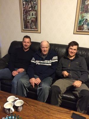 En levande legend tillsammans med två blivande? Fr. v. Daniel Eriksson, Levi Svedberg och Thomas Larsson.
