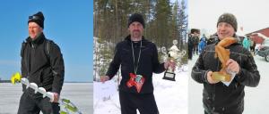 fr v: Micke Engvall 3:a, Jonas Gustafsson 2:a och Vinnaren Jesper Dyberg