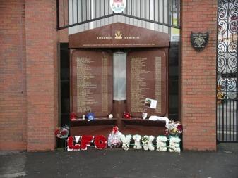 Hillsborough Memorial på Anfield i Liverpool.