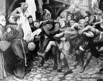 Den gudlösa sporten fotboll på 1300-talet.