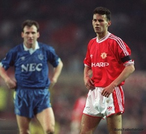 Giggs i sin debut mot Everton.