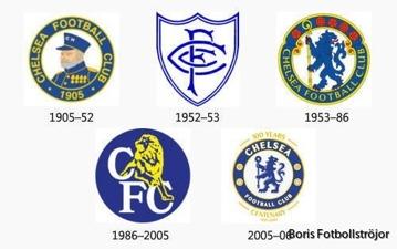 Chelseas olika klubbmärken genom tiderna.