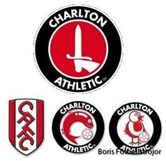 Charlton Athletics riktiga och tre påhittade logos.