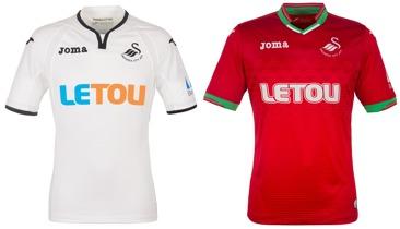 best website f17c5 2d989 Sedan är det inte så vanligt med kombinationen rött och grönt. Snyggt!  Swansea väljer även att utnyttja den nya regeln att det är OK med reklam på  ärmen.