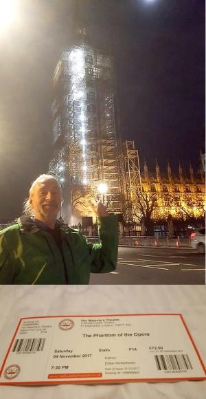 Big Boris och ett inpaketerat Clocktower. Biljetten som uthämtades på efermiddagen