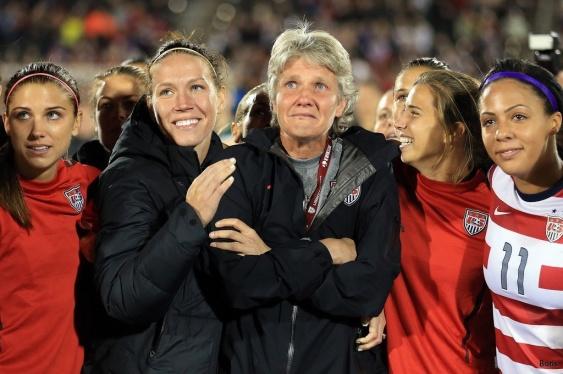 Pias sista match med USAs damlandslag.