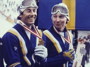 Guld- och bronsmedaljören i slalom vid VM 1982.