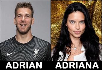 Adrián San Miguel del Castillo, spansk fotbollsmålvakt i Liverpool och Adriana Lima, brasiliansk fotomodell