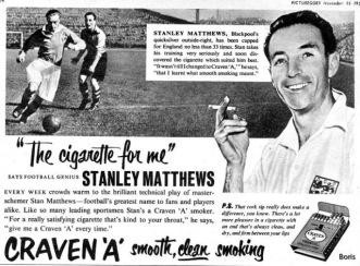 Detta är en bild som inte har med Matthews sista landskamp att göra, men det är intressant hur man såg på idrott och rökning på den tiden.