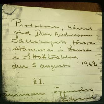 FÖRSTA PROTOKOLLET. DEN 5 AUGUSTI 1962