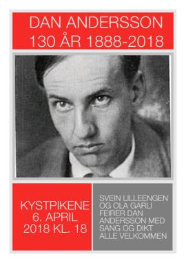 DAN ANDERSSON 130 ÅR - firas påcafé Kystpikene i Brekstad utanför Trondheim i Norge