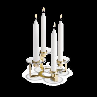 Holmegaard, Lumi Ljusstake 4-armad med glasmanschetter mässing -