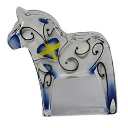 Nybro, Dalahäst Figur 13x13 cm blå-gul
