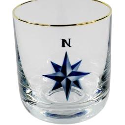 Nybro, Crystal Ink Kompass Whiskyglas med guldkant
