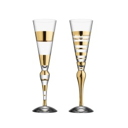 Orrefors, Clown Gold Champagne 19 cl 2-pack guld