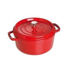 Staub, Cocotte rund  gryta 24 cm 3,8 L röd