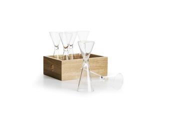 Sagaform, Oak snapsglas med förvaringslåda 6-pack - Orrefors snapsglas