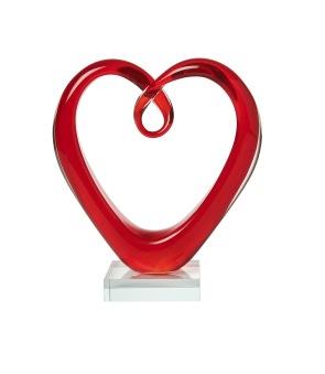 Hjärta Röd - Handgjord glasskulptur. Höjd 18,5 cm. Underbelysning säljes separat.