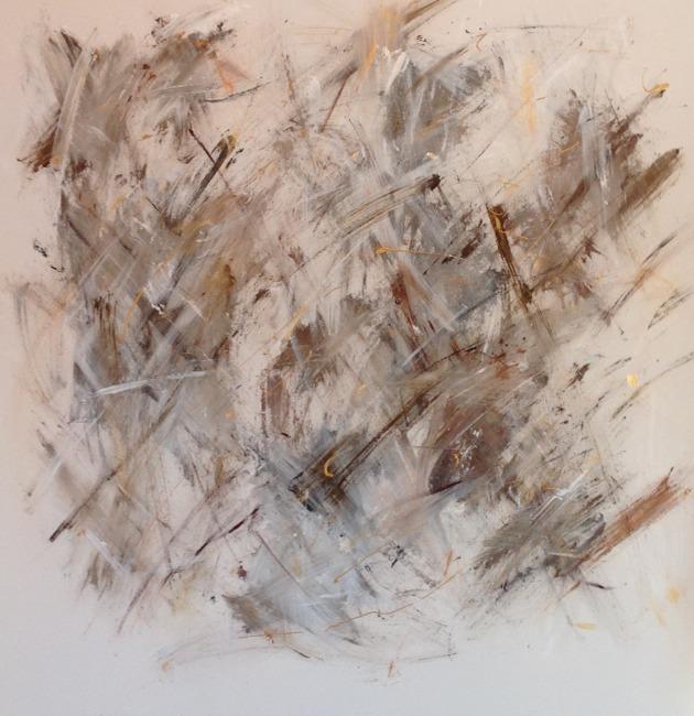 Friends 100 x 100 cm blandteknik med bl a bladguld SÅLD