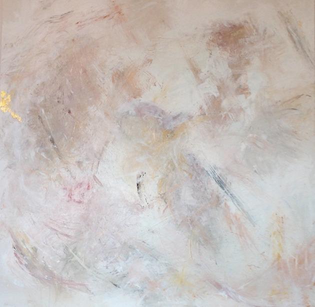 Förändringen 100 x 100 cm blandteknik med bl a bladguld 5700 kr