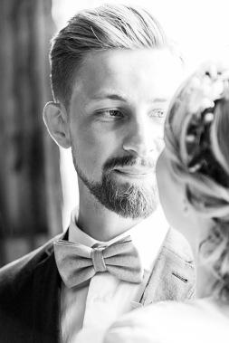 Bröllopsporträtt svartvitt. Bröllopsfotograf Åsa Lännerström
