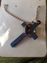 Hänge kors med ring i stål - Blått kors med kedja