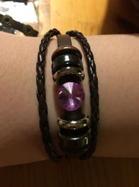 Läderarmband m rosa eller blå sten - Armband m rosa sten