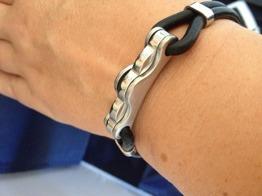 Armband i stål och gummi -